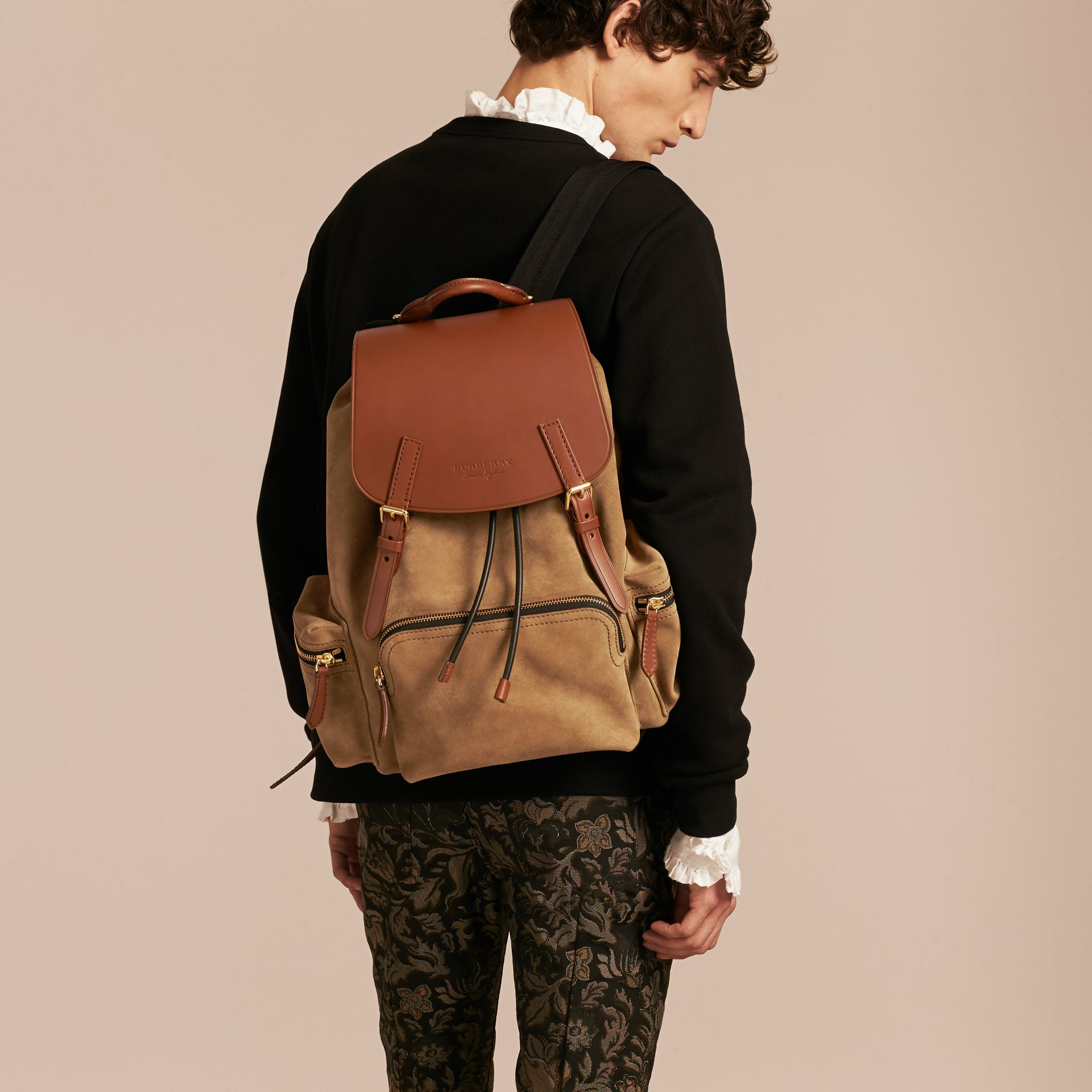 Tan The Large Rucksack in Suede and Bridle Leather - gallery image 3
