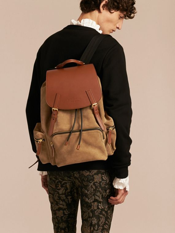 Tan The Large Rucksack in Suede and Bridle Leather - cell image 2