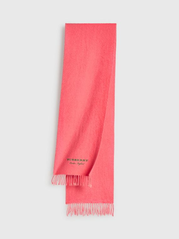 Embroidered Cashmere Fleece Scarf in Coral