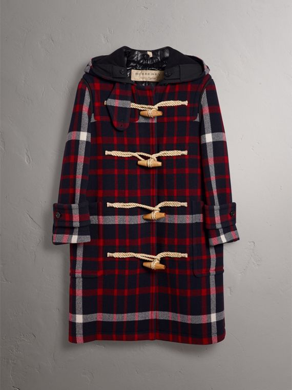 Check Wool Duffle Coat with Detachable Warmer in Navy/black - Women | Burberry - cell image 3