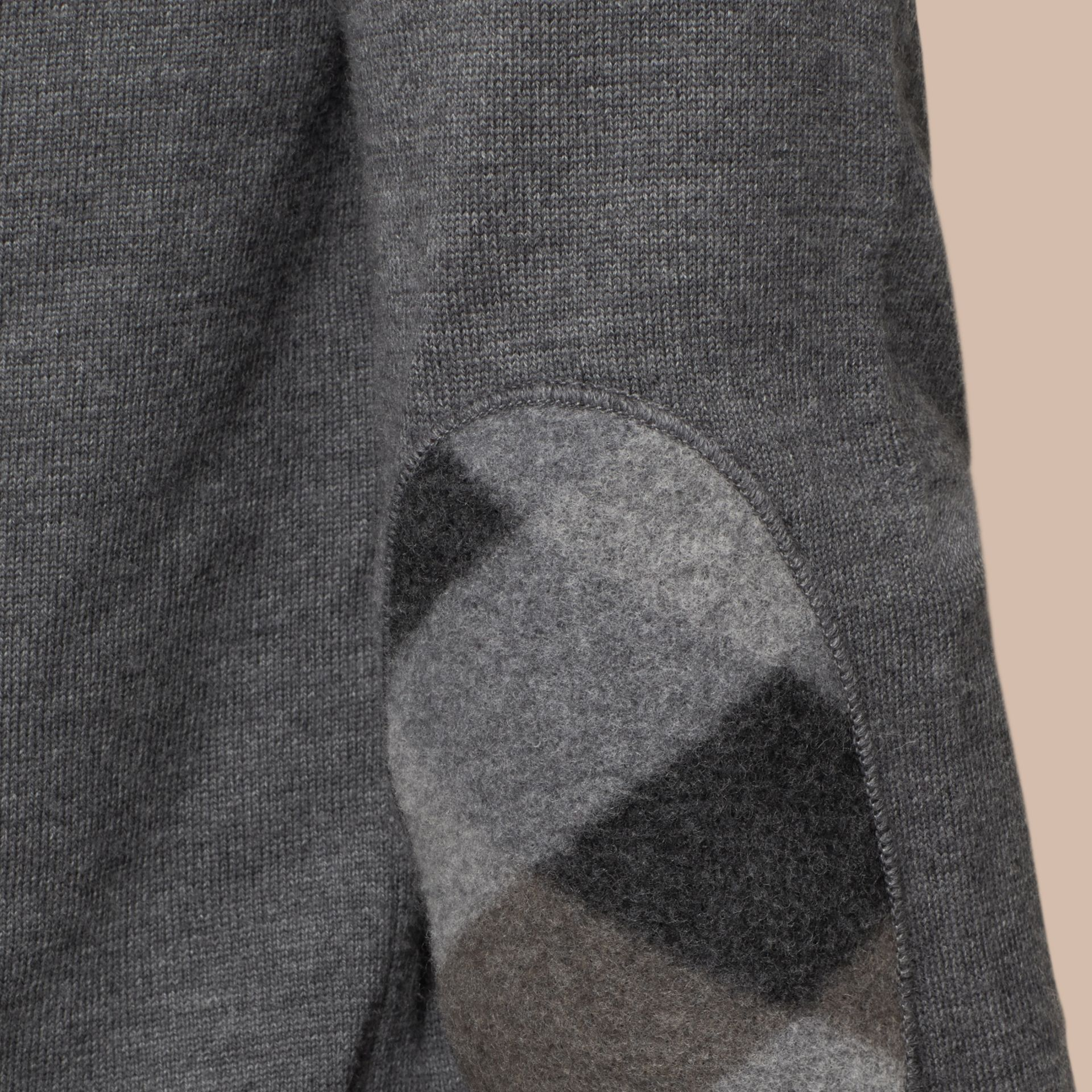 Mid grey melange Check Elbow Detail Wool Sweater Mid Grey Melange - gallery image 2