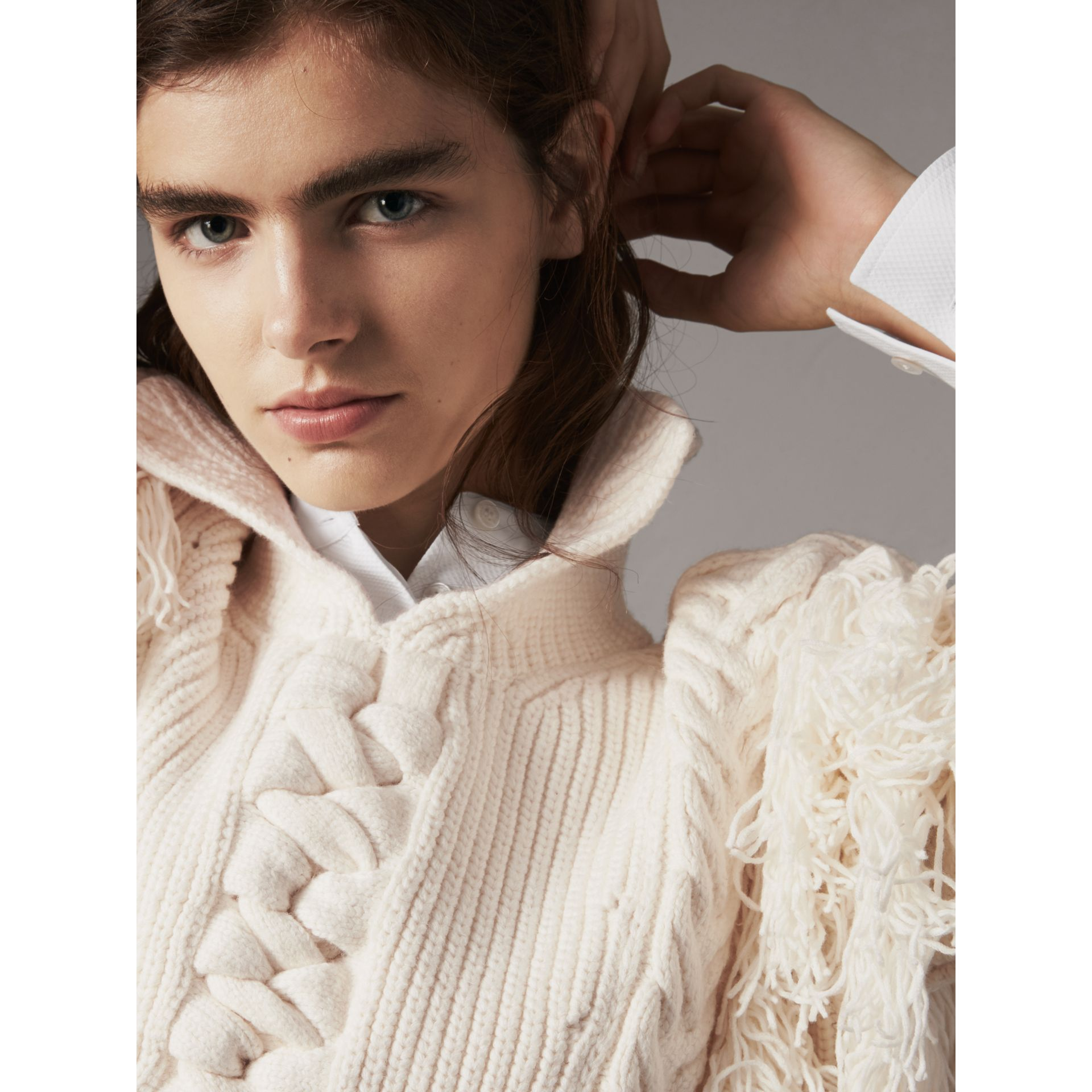 Fringed Cable Knit Cotton Blend Oversized Sweater in Natural White - Women | Burberry - gallery image 1