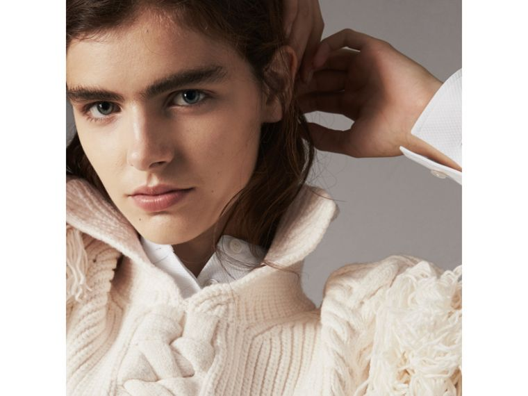 Fringed Cable Knit Cotton Blend Oversized Sweater in Natural White - Women | Burberry - cell image 1