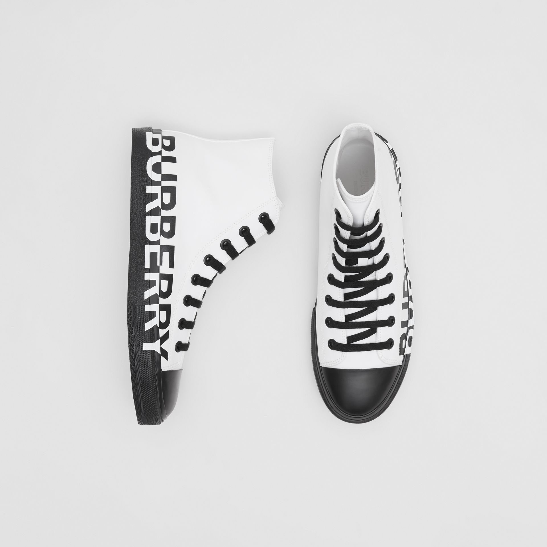 Logo Print Cotton Gabardine High-top Sneakers in Optic White/black - Men | Burberry - gallery image 0