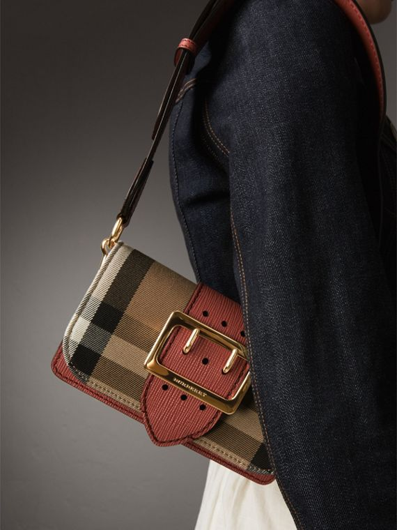 The Small Buckle Bag in House Check and Leather in Cinnamon Red - Women | Burberry Singapore - cell image 3