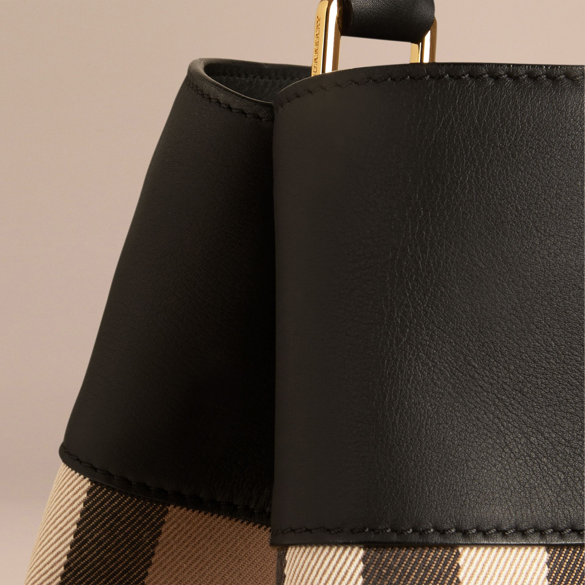 Black The Bucket Bag in House Check and Leather Black - gallery image 6