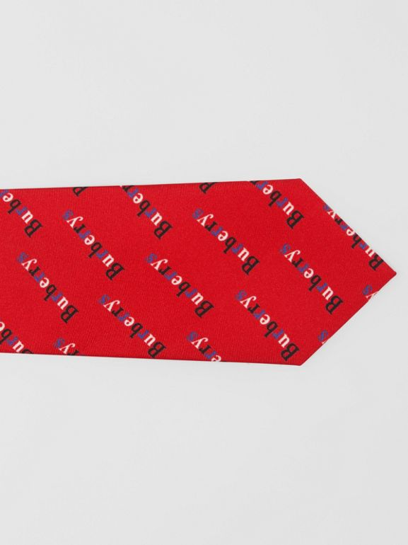 Modern Cut Archive Logo Print Silk Tie in Parade Red - Men | Burberry United States - cell image 1