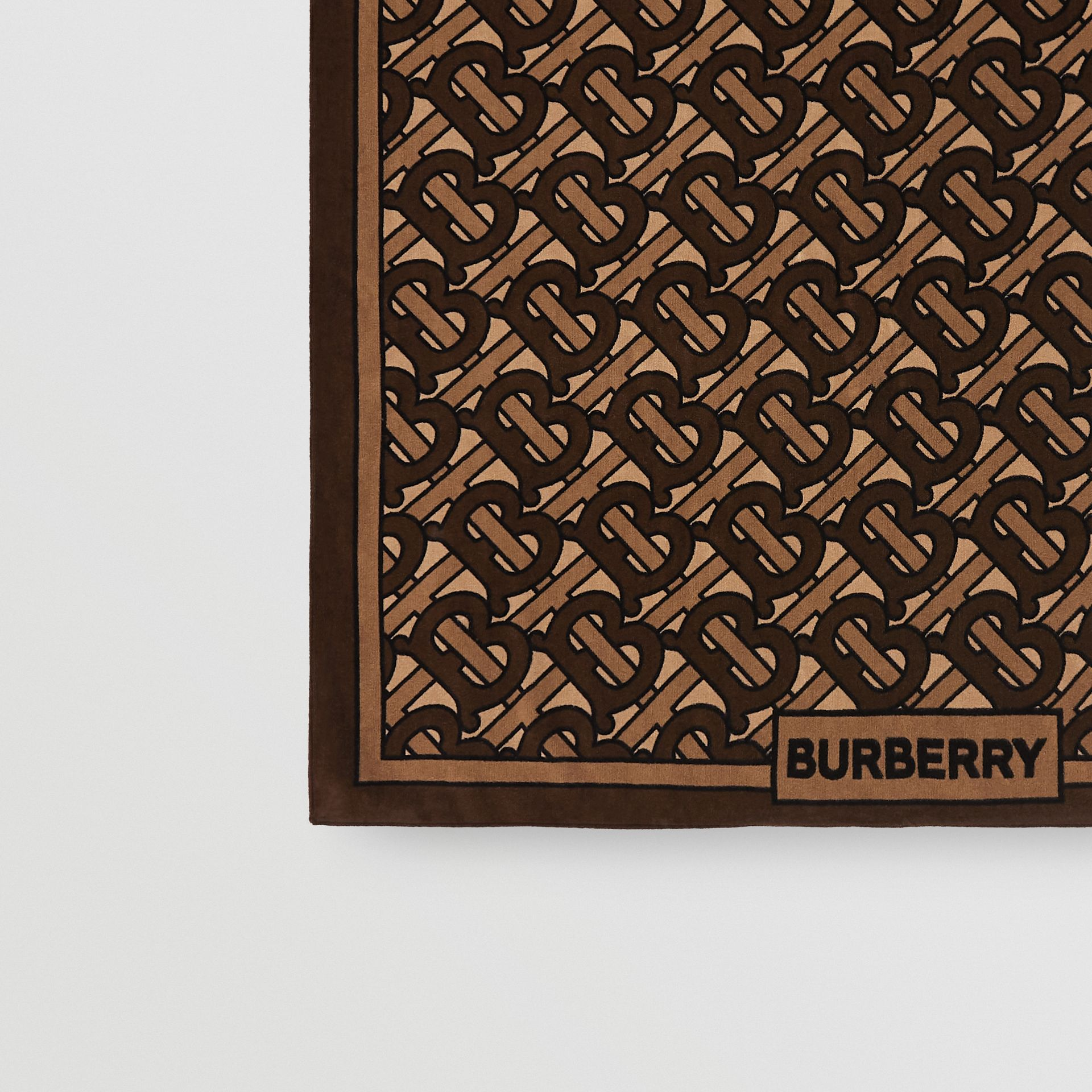 Monogram Print Cotton Towel in Brown | Burberry Hong Kong - gallery image 1