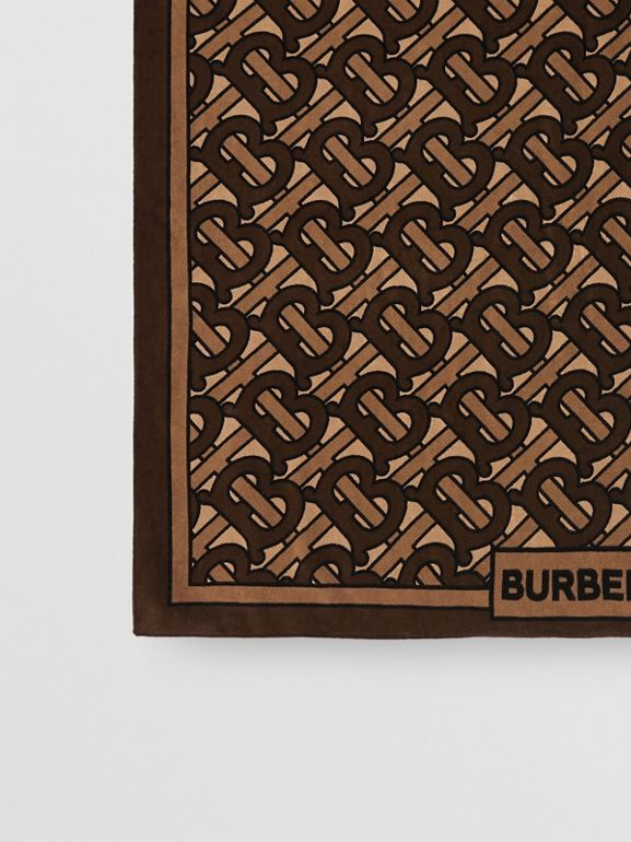 Monogram Print Cotton Towel in Brown | Burberry - cell image 1
