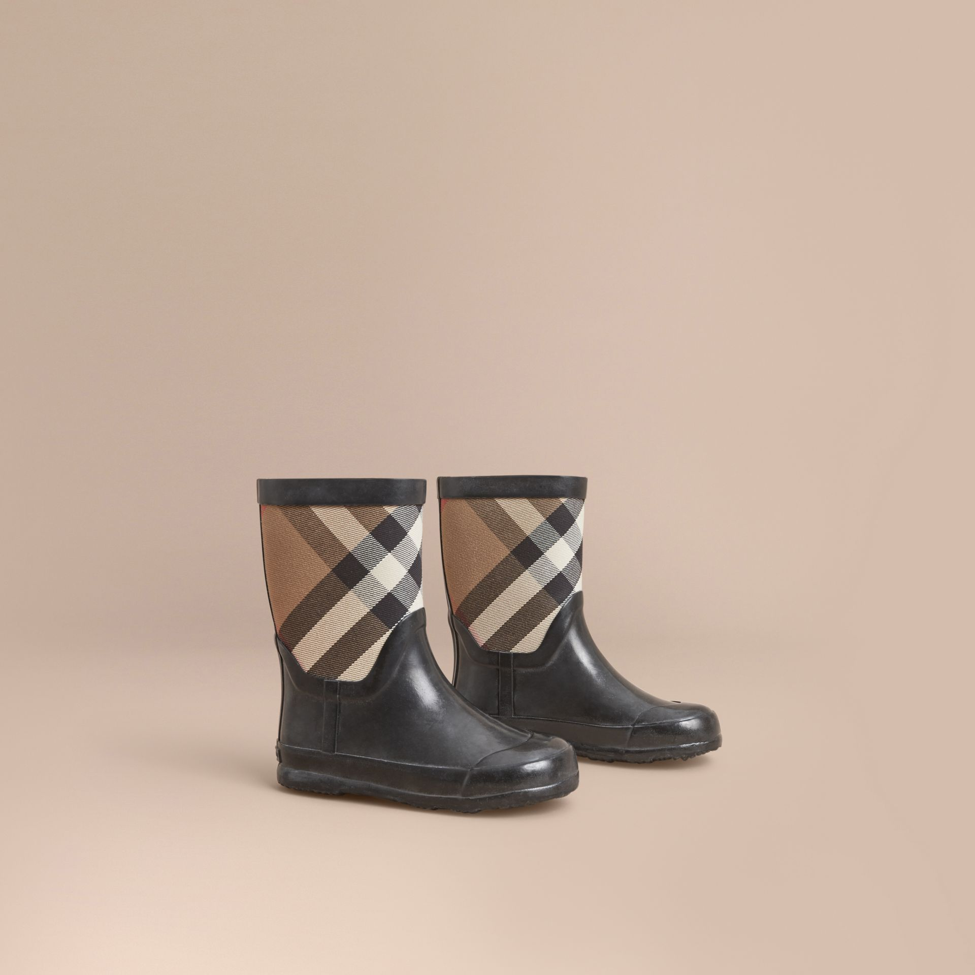 House Check Panel Rain Boots in Black | Burberry Hong Kong - gallery image 1