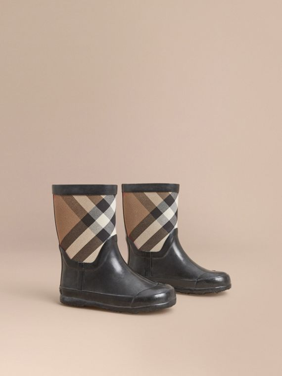 House Check Panel Rain Boots | Burberry Canada