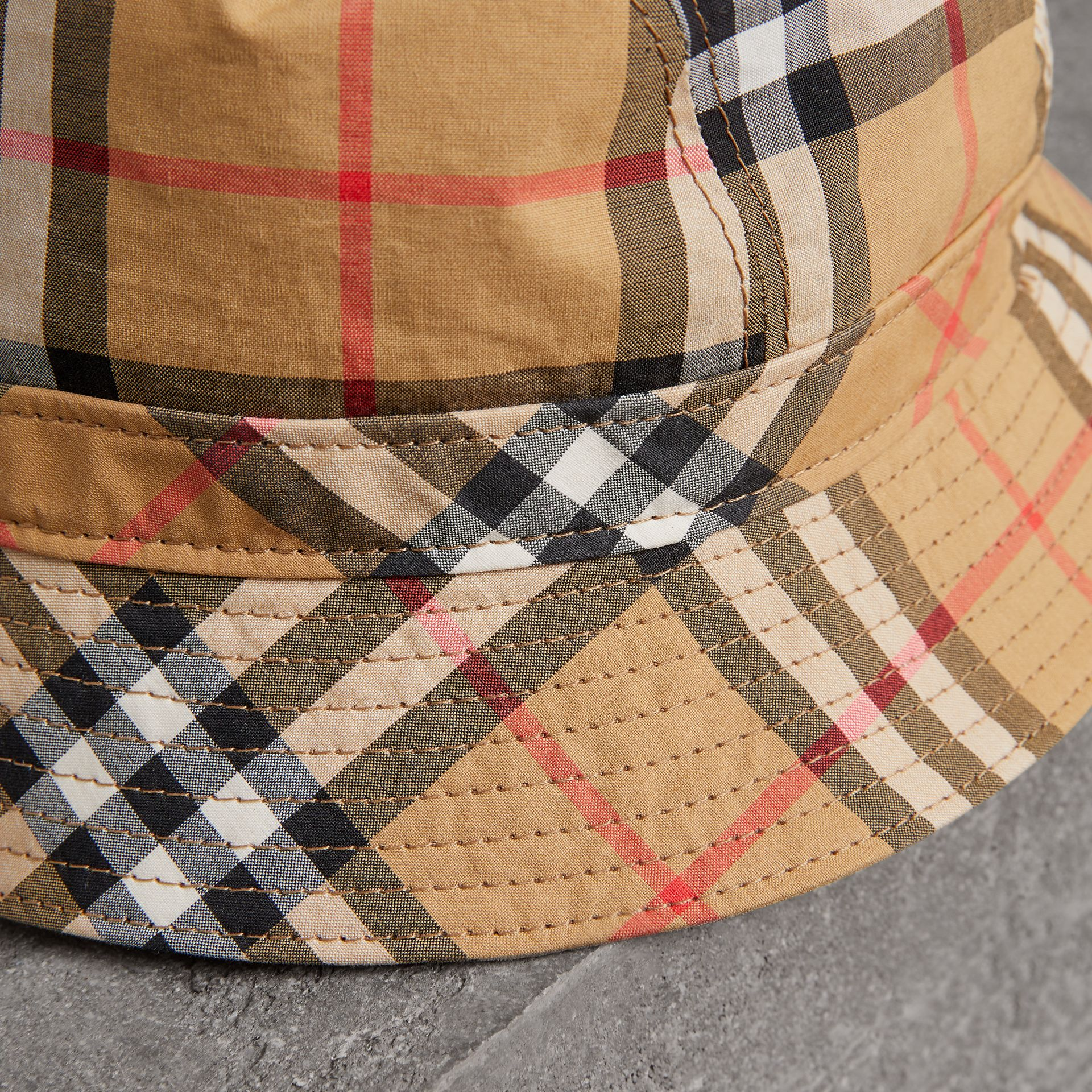Vintage Check Bucket Hat in Antique Yellow | Burberry Canada - gallery image 1