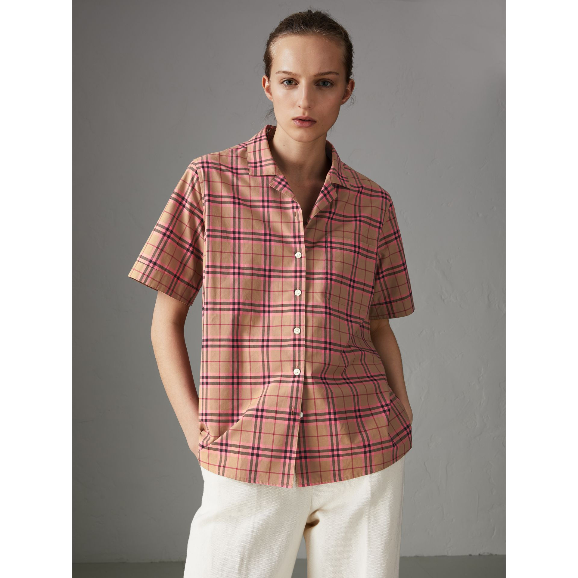Check Cotton Short-sleeved Shirt in Pomegranate Pink - Women | Burberry Hong Kong - gallery image 4