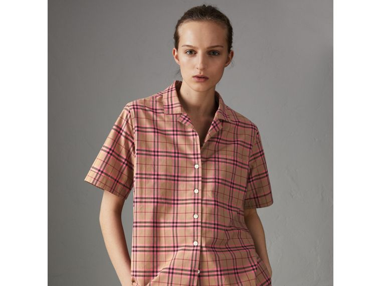 Check Cotton Short-sleeved Shirt in Pomegranate Pink - Women | Burberry Singapore - cell image 4