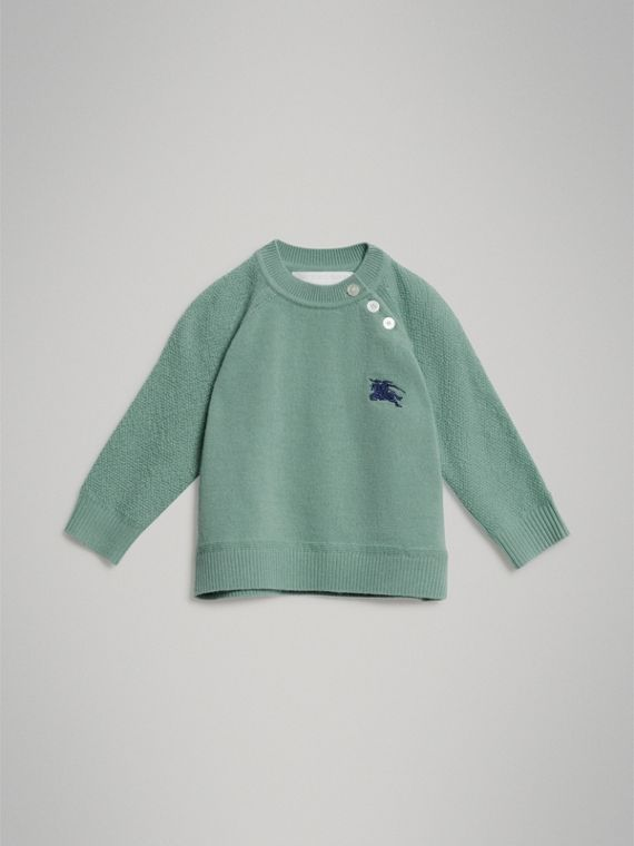 Contrast Motif Cashmere Sweater in Dusty Mint Melange