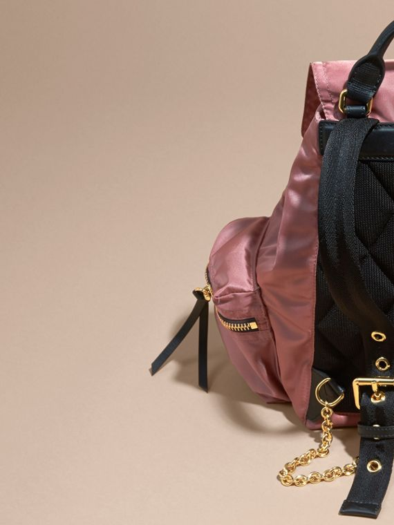 The Medium Rucksack in Technical Nylon and Leather Mauve Pink - cell image 3