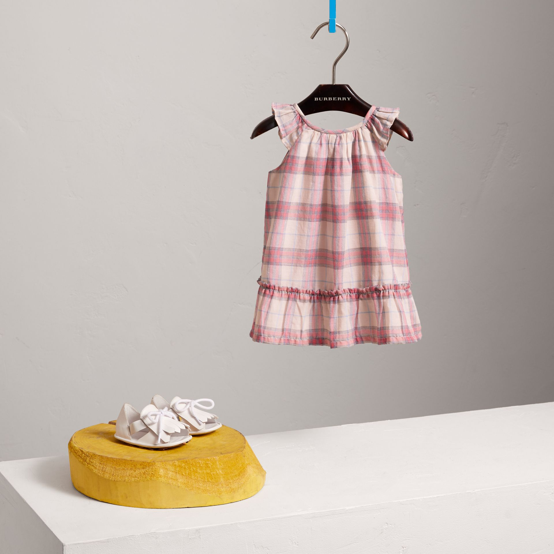 Gathered Check Cotton A-line Dress in Bright Coral Pink - Children | Burberry - gallery image 2