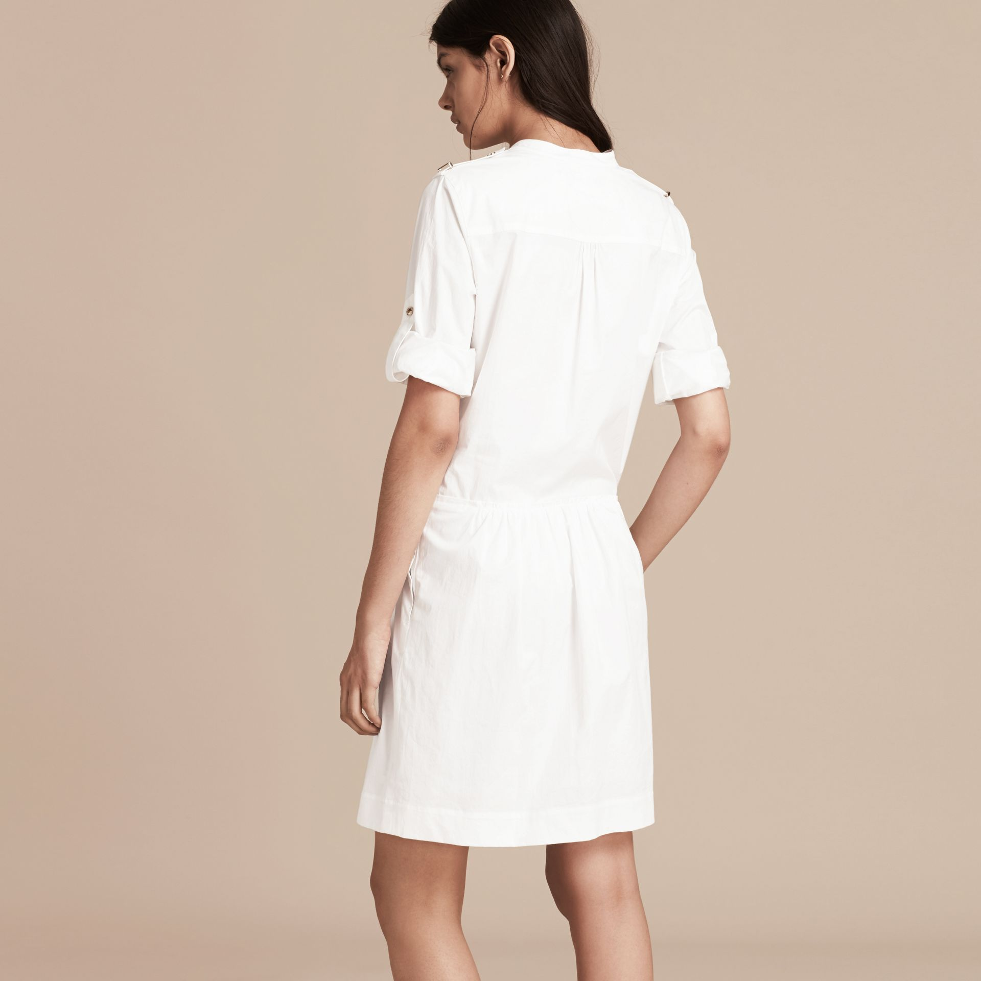 White Military-inspired Cotton Blend Shirt Dress White - gallery image 3