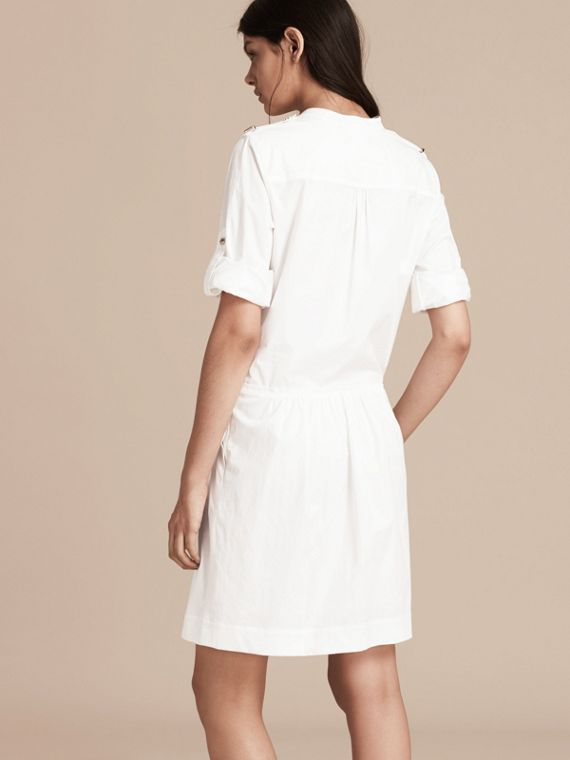 White Military-inspired Cotton Blend Shirt Dress White - cell image 2