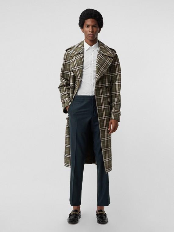 Pantalones de vestir en lana y cachemir de corte clásico (Azul)
