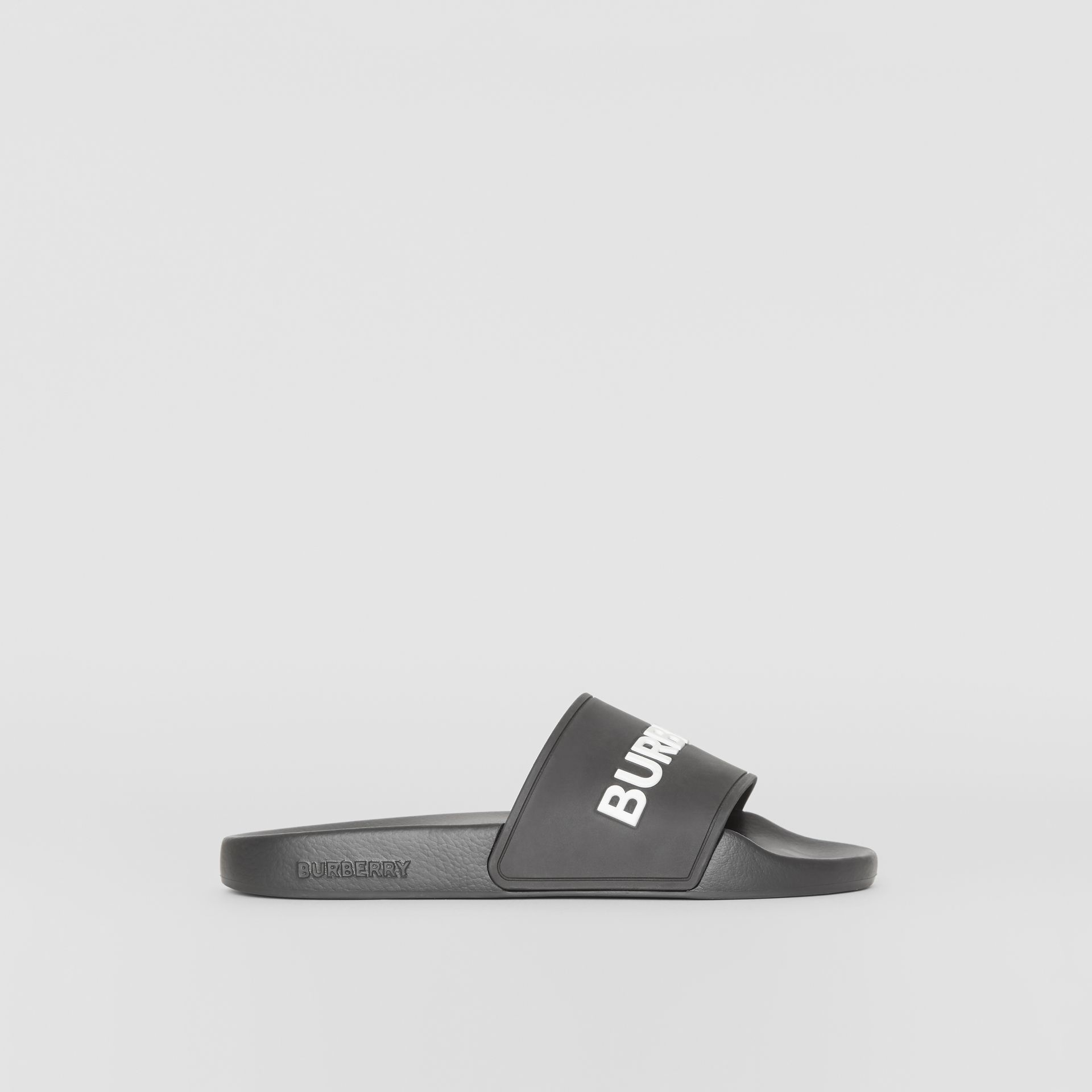 Kingdom Print Slides in Black - Women | Burberry United Kingdom - gallery image 4