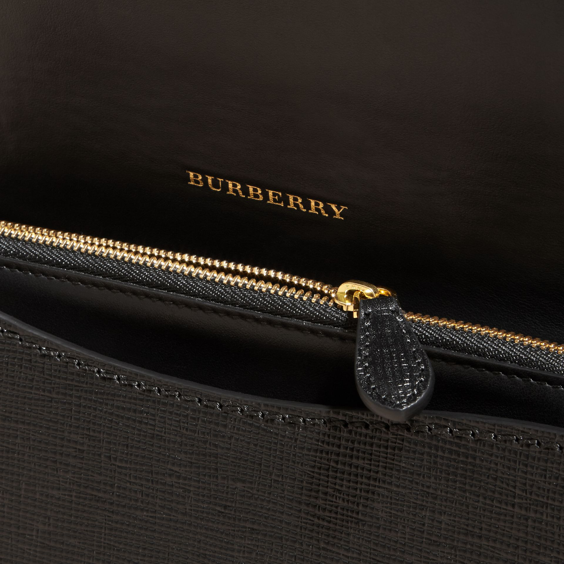 The Medium Buckle Bag in Textured Leather in Black/tan - gallery image 6