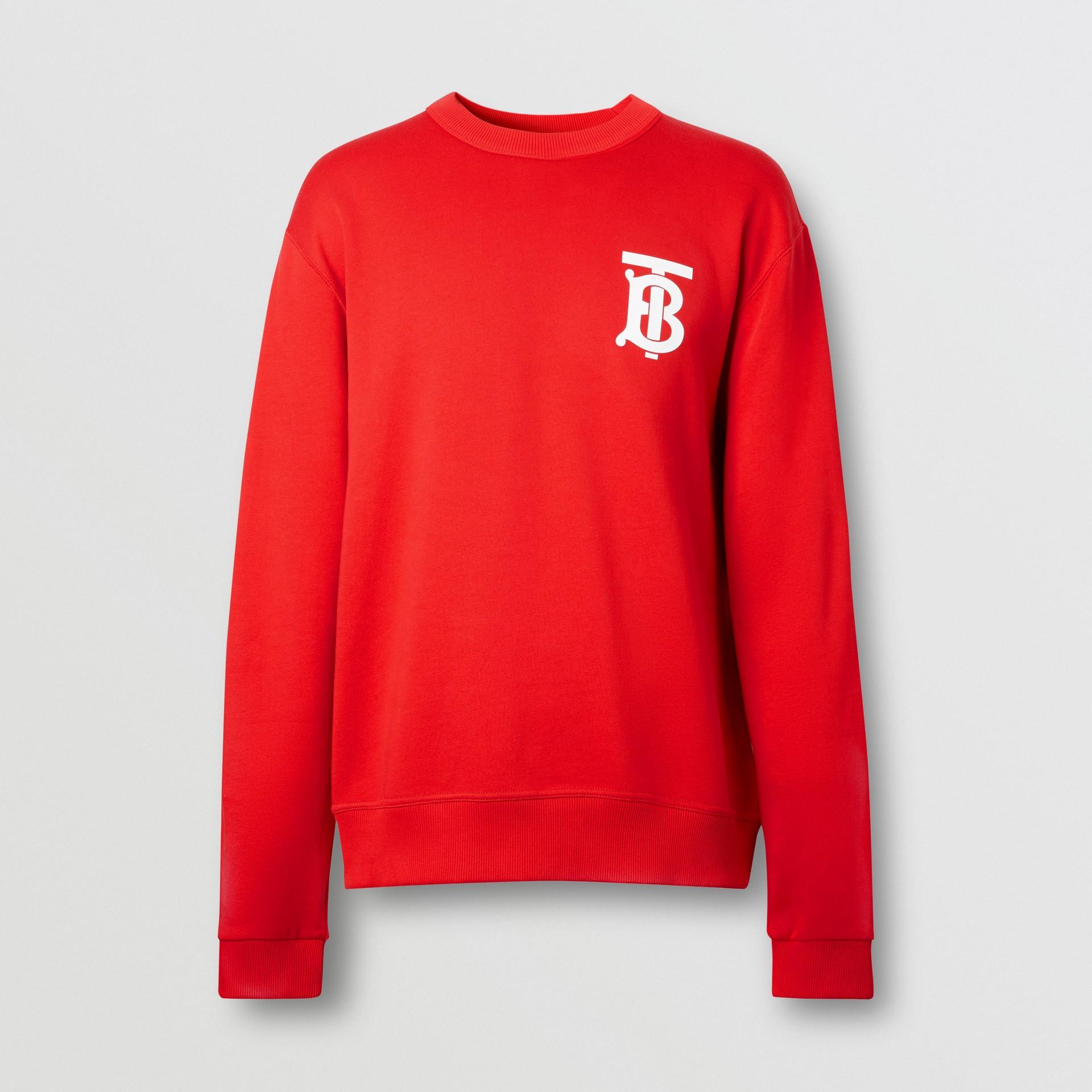 Monogram Motif Cotton Sweatshirt in Bright Red - Men | Burberry United Kingdom - gallery image 3