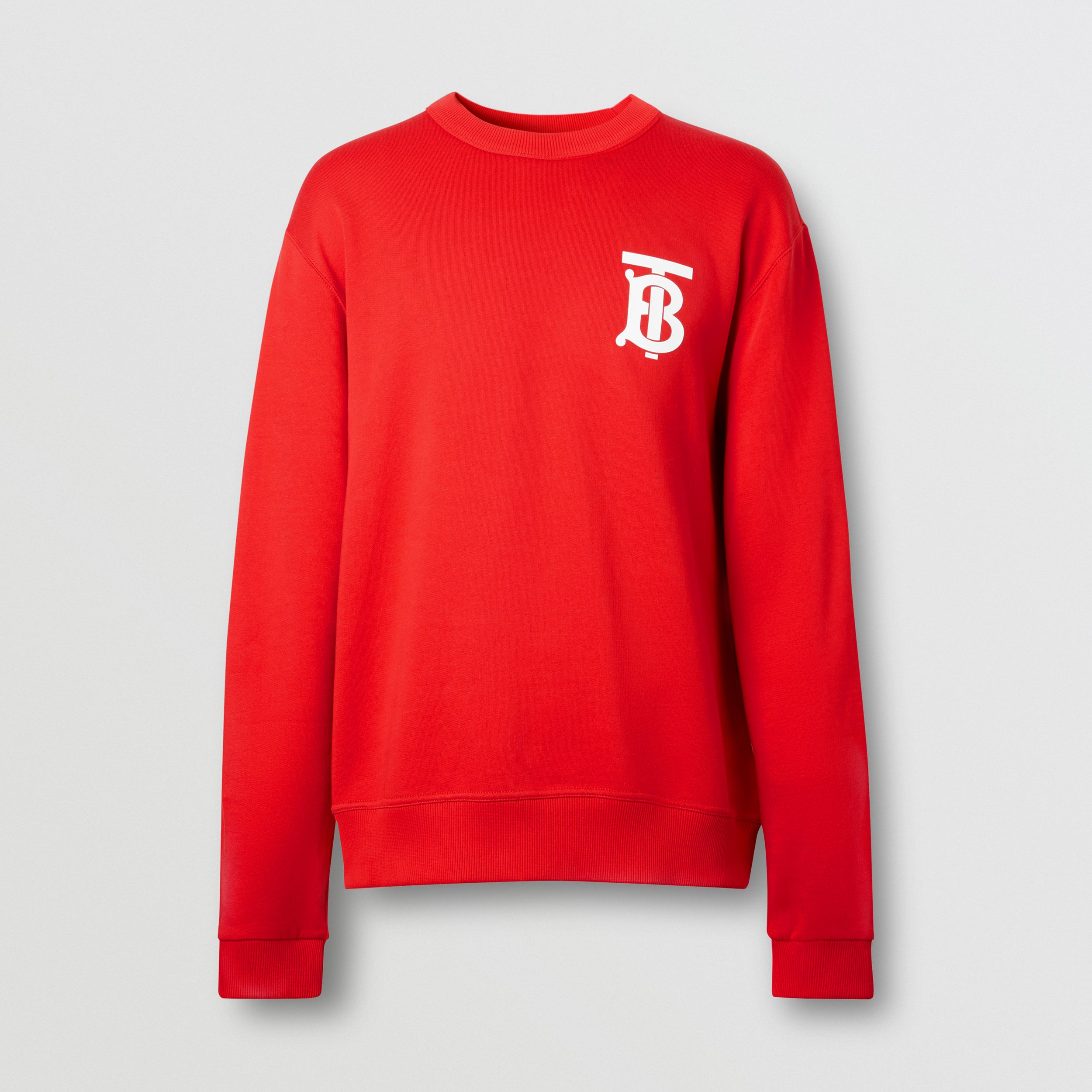 Monogram Motif Cotton Sweatshirt in Bright Red - Men | Burberry Australia - 4