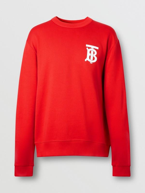 Monogram Motif Cotton Sweatshirt in Bright Red - Men | Burberry United Kingdom - cell image 3