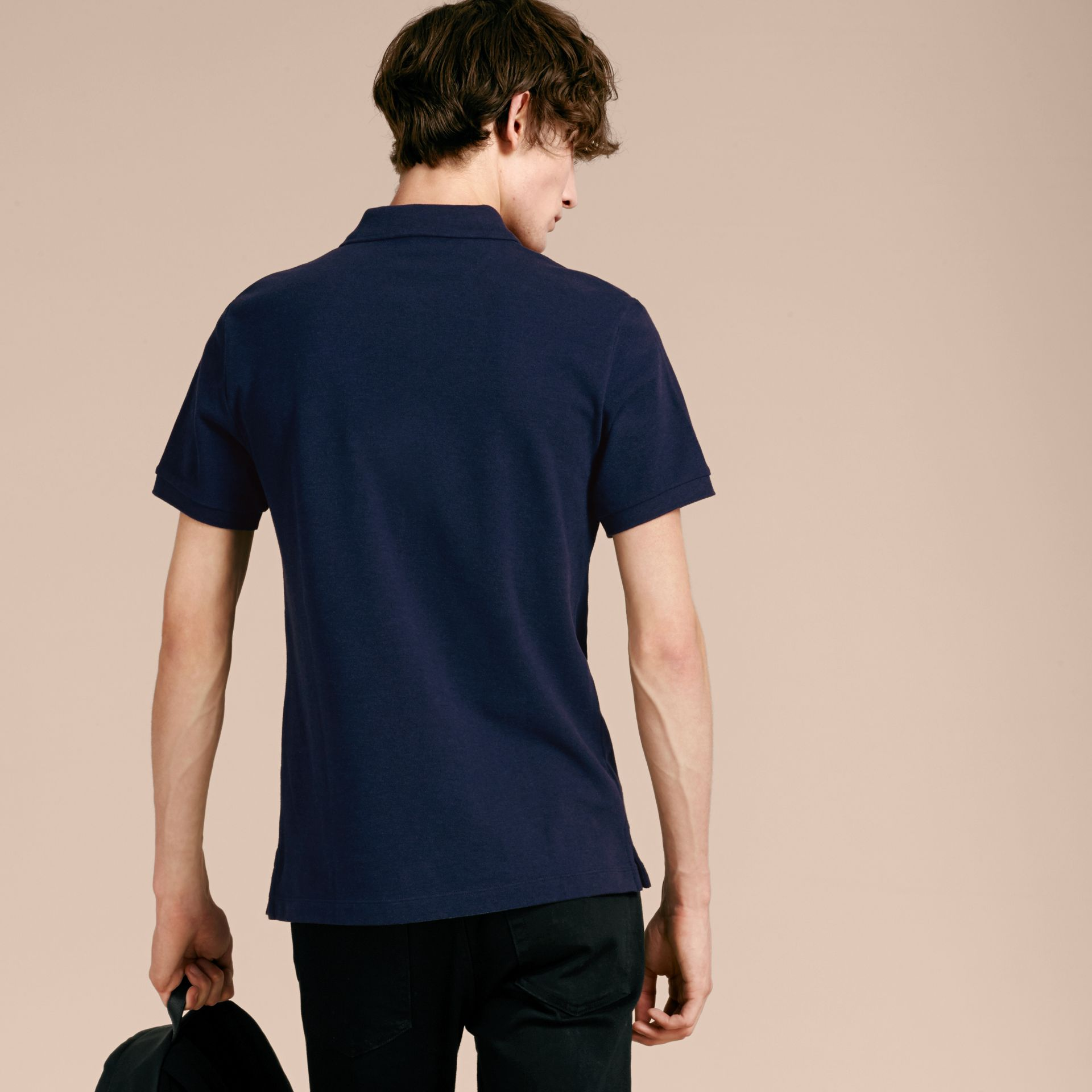 Check Placket Cotton Piqué Polo Shirt in Navy Melange - gallery image 3