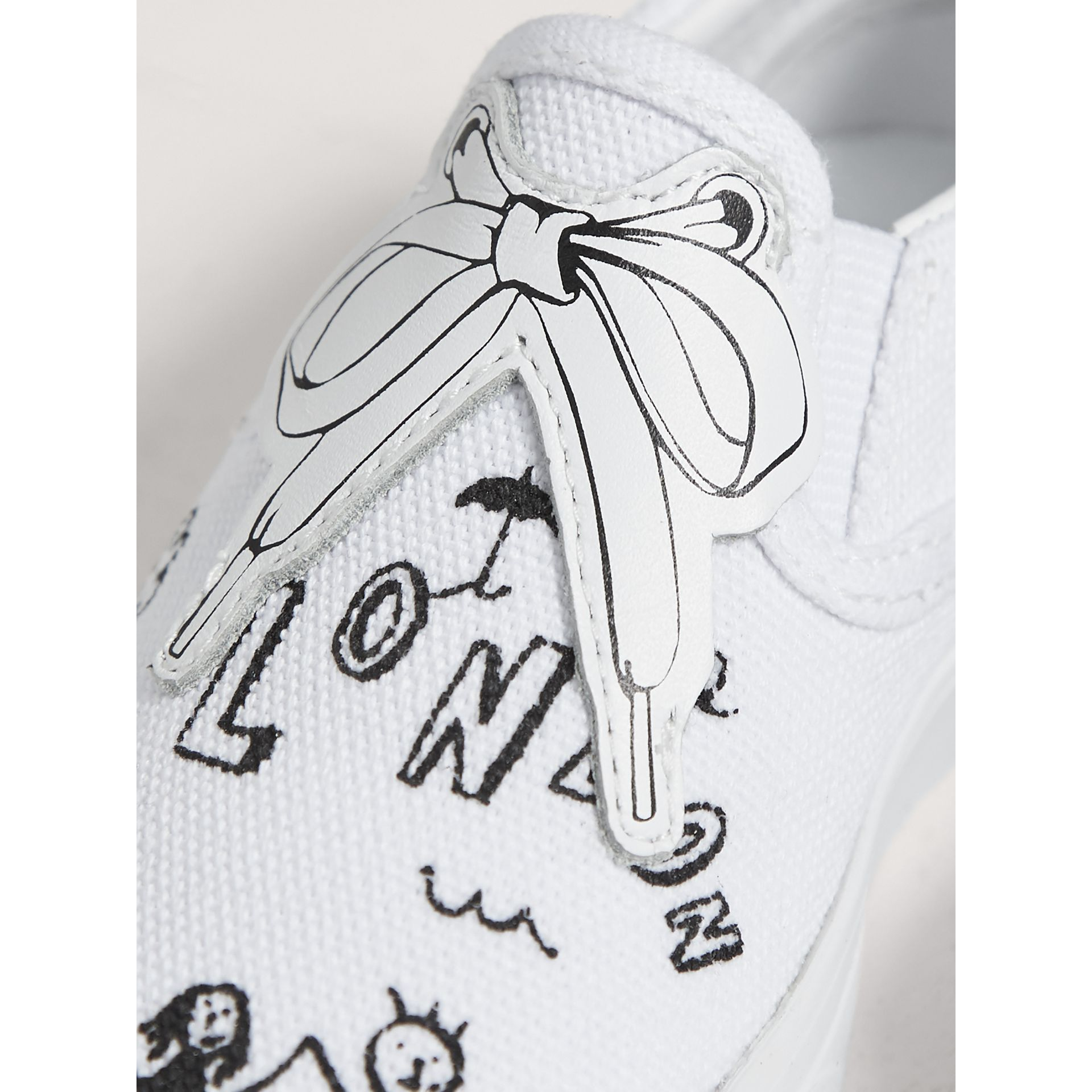 Doodle Print Slip-on Trainers in Optic White | Burberry - gallery image 2