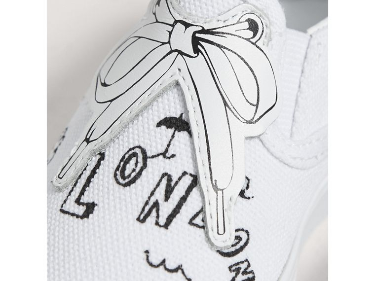 Doodle Print Slip-on Trainers in Optic White | Burberry Canada - cell image 1
