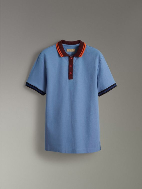 Two-tone Stripe Knitted Detail Cotton Polo Shirt in Light Blue - Men | Burberry United States - cell image 3