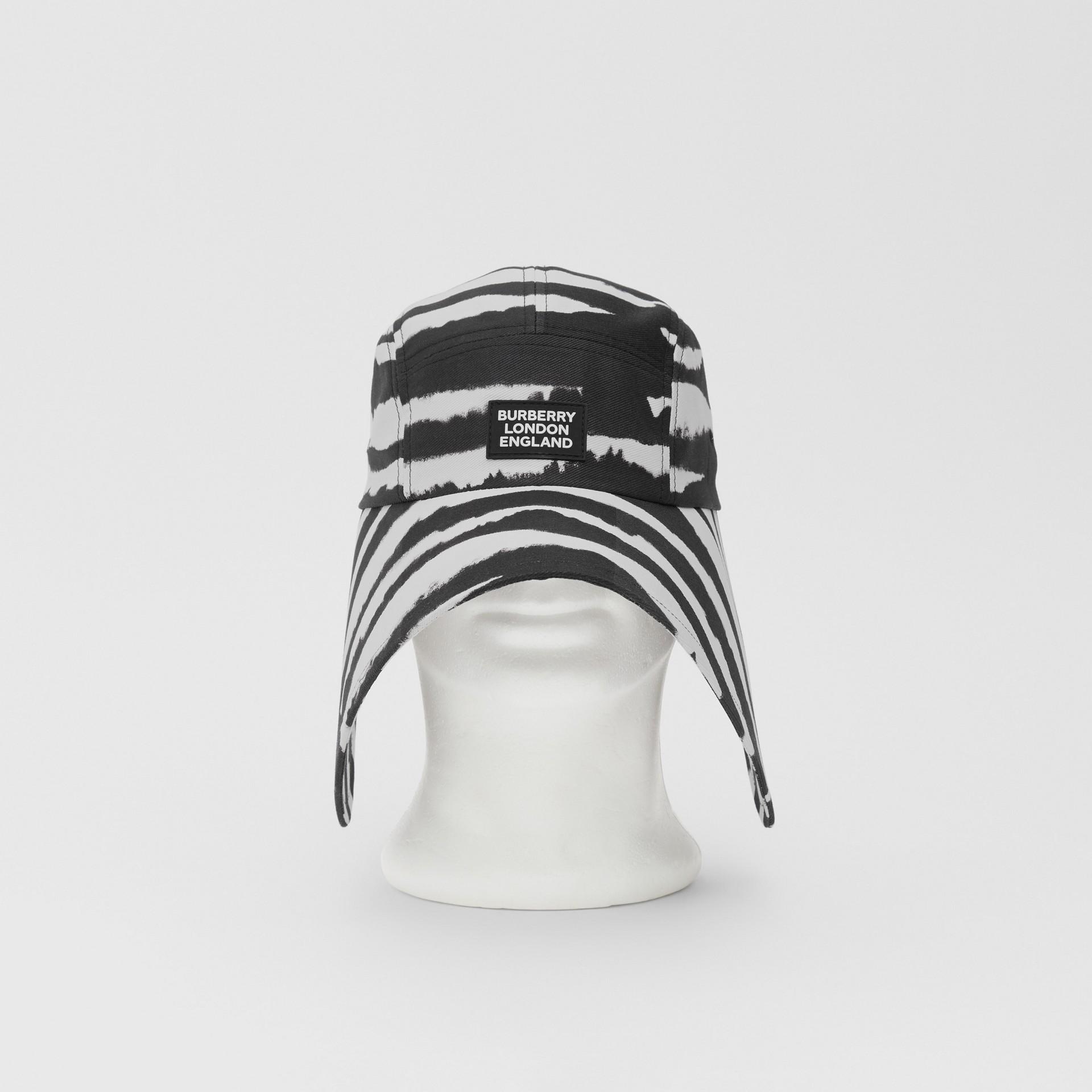 Watercolour Print Cotton Bonnet Cap in Black/white | Burberry United States - gallery image 0