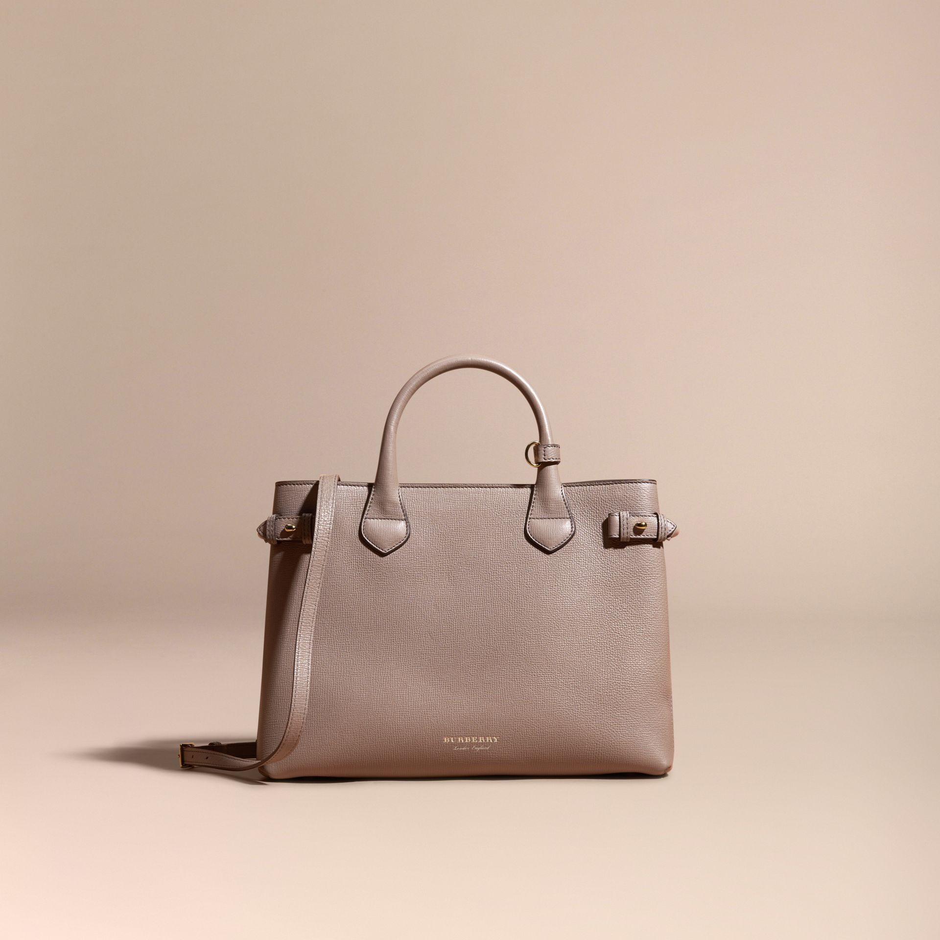Gris chardon Sac The Banner medium en cuir et coton House check Gris Chardon - photo de la galerie 8