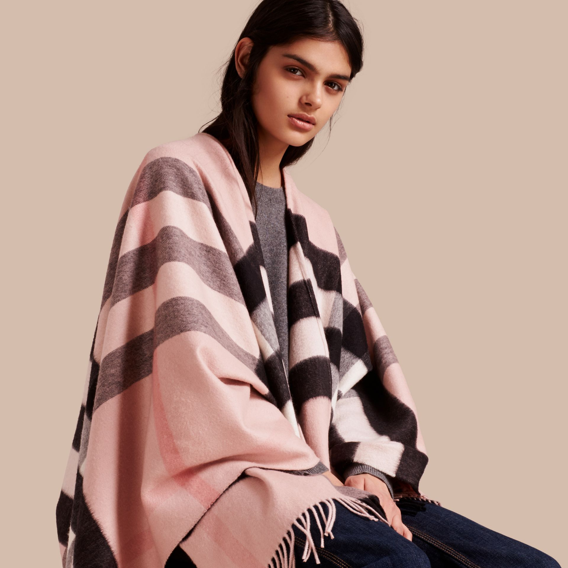 Check Cashmere and Wool Poncho Rose - gallery image 1