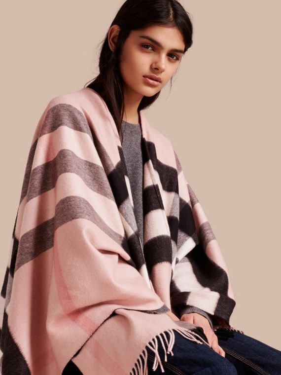 Check Cashmere and Wool Poncho in Ash Rose