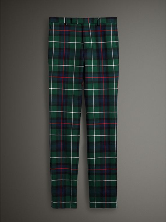 Tartan Wool Cropped Tailored Trousers in Forest Green - Men | Burberry Hong Kong - cell image 3
