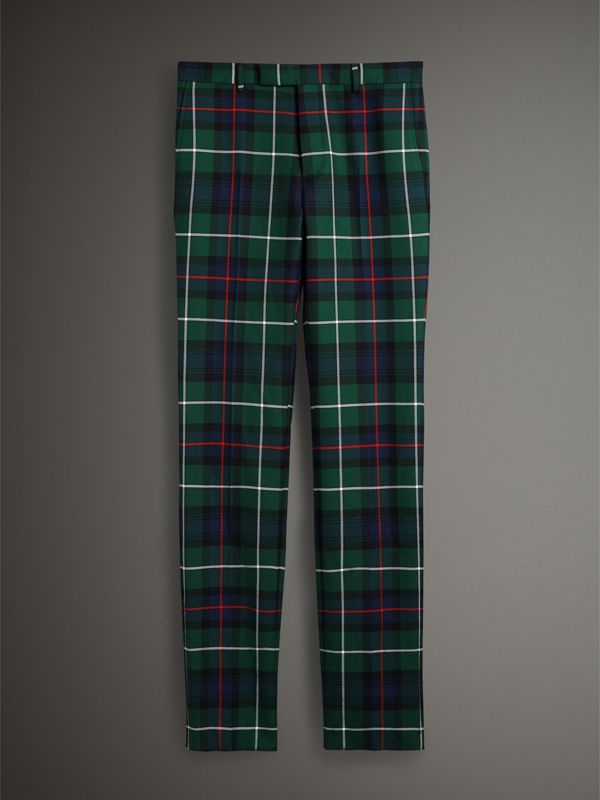 Tartan Wool Cropped Tailored Trousers in Forest Green - Men | Burberry - cell image 3