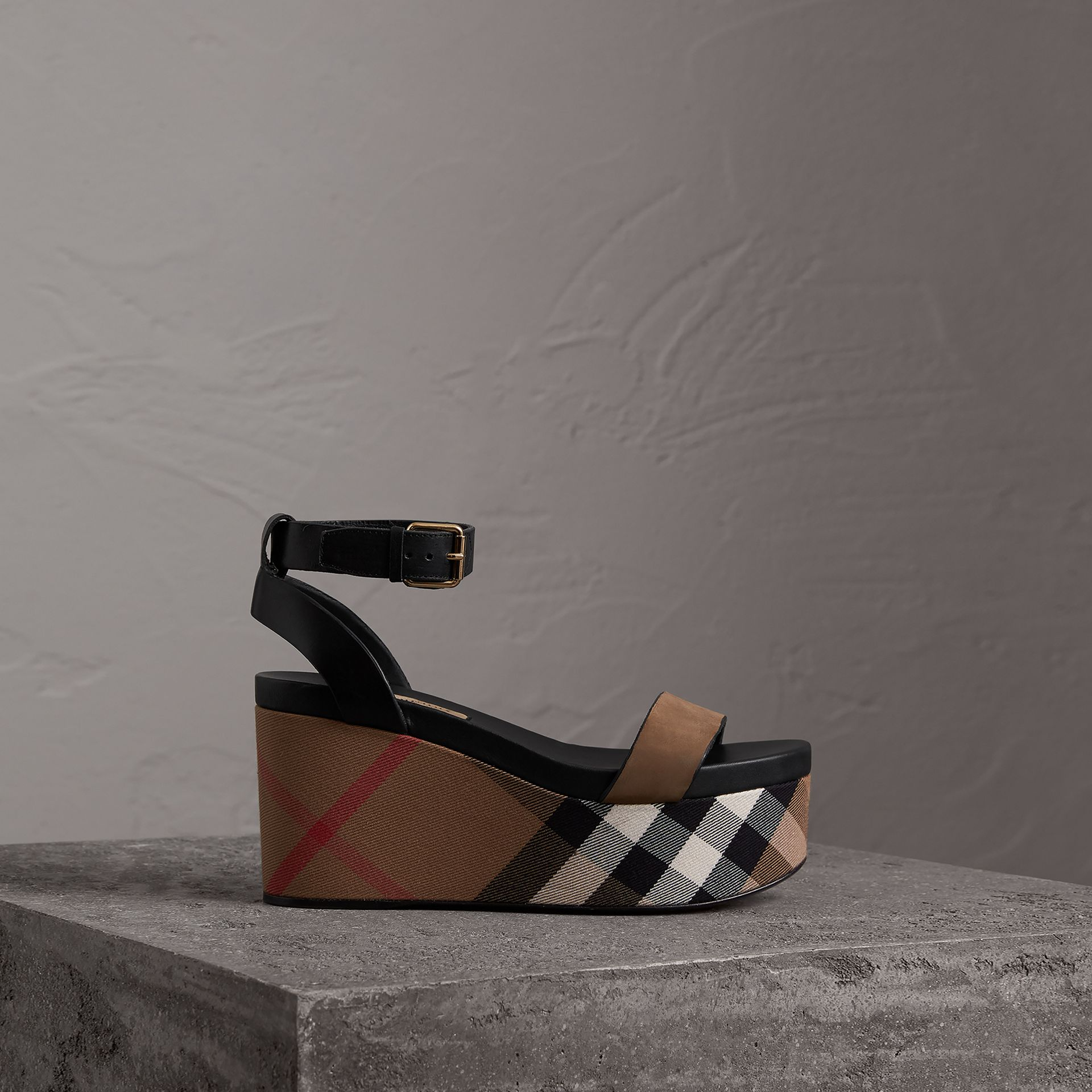 House Check and Leather Wedge Sandals in Dark Heather Melange - Women | Burberry - gallery image 0