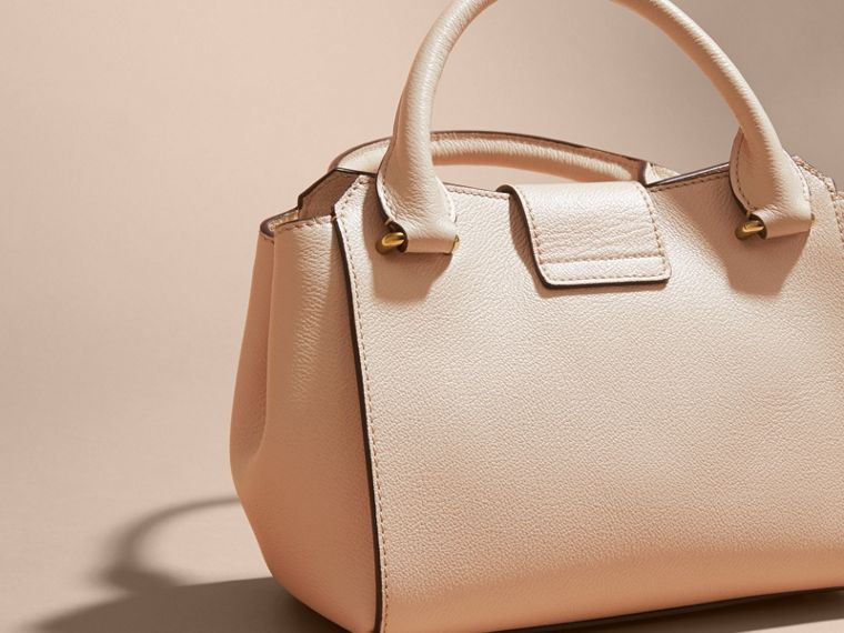 The Small Buckle Tote in Grainy Leather in Limestone - cell image 4