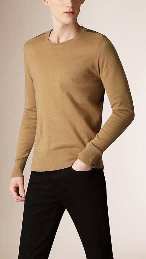 Camel Check Detail Cotton Cashmere Sweater Camel - Image 1