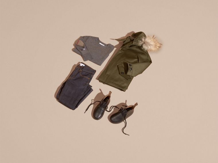 Olive green Fur-trimmed Cotton Sateen Parka - cell image 4