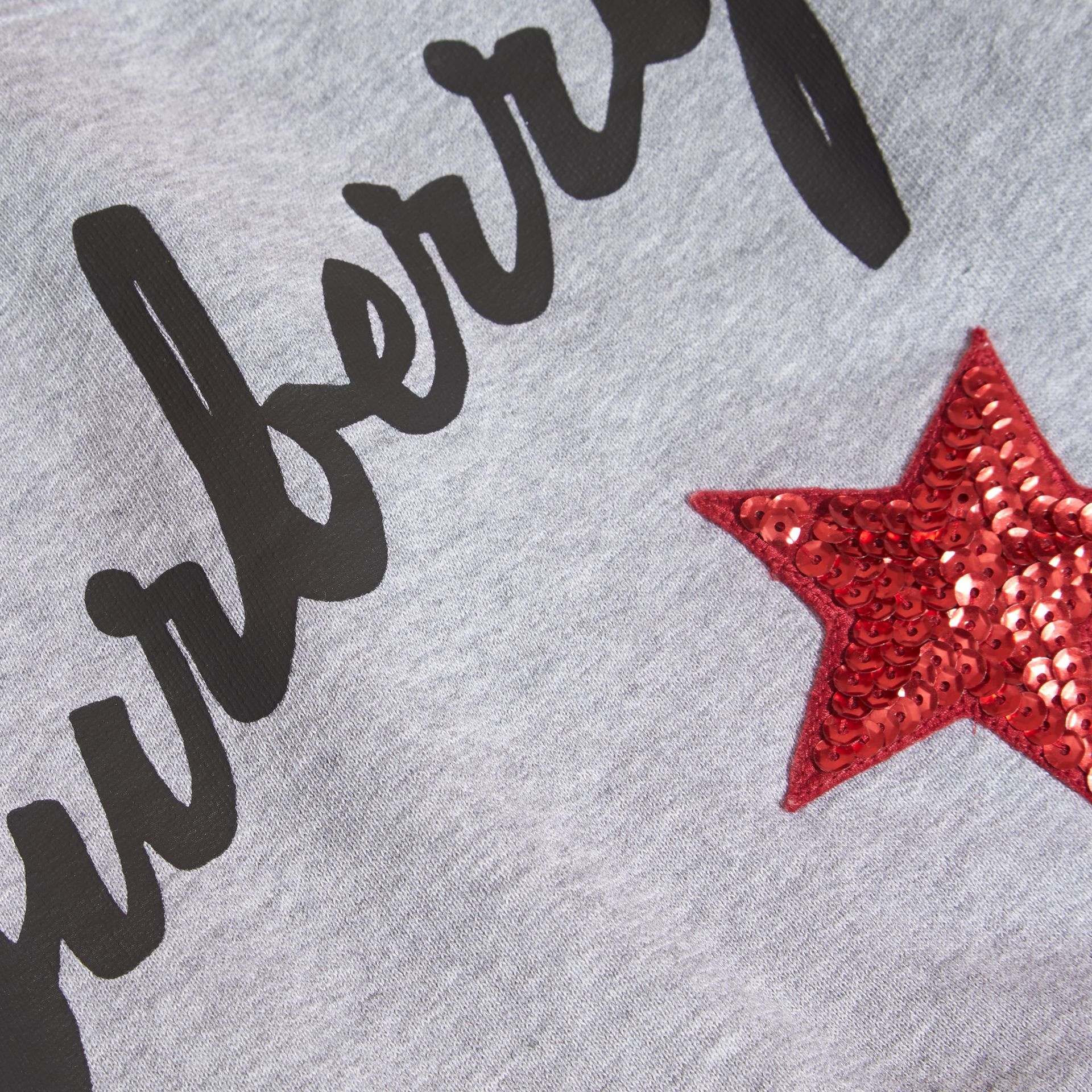 Mid grey melange Graphic Print and Sequin Embellished Cotton Jersey Sweatshirt - gallery image 2