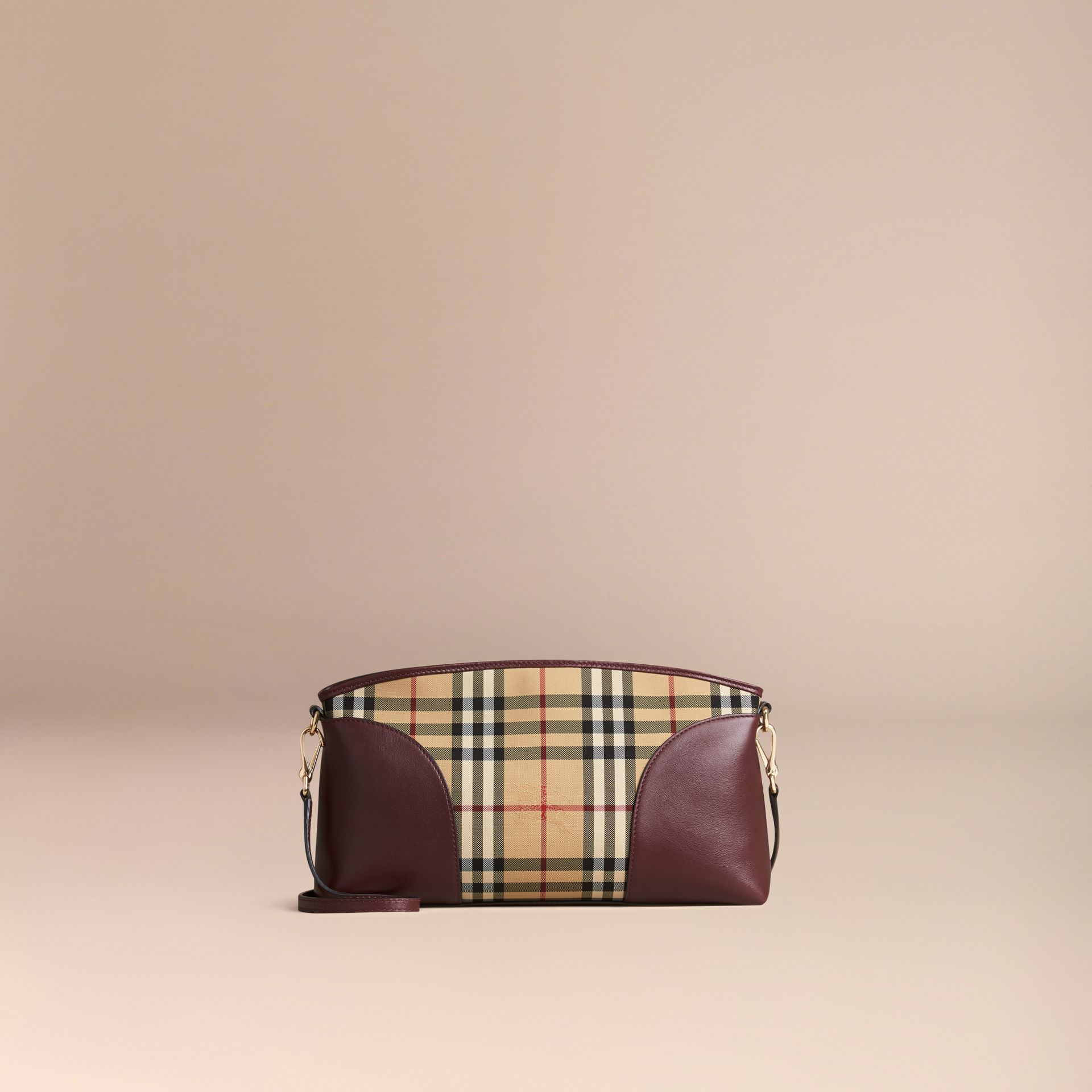 Honey/deep claret Horseferry Check and Leather Clutch Bag Honey/deep Claret - gallery image 5