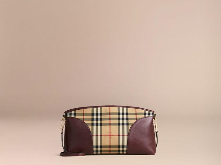 Honey/deep claret Horseferry Check and Leather Clutch Bag Honey/deep Claret - cell image 4