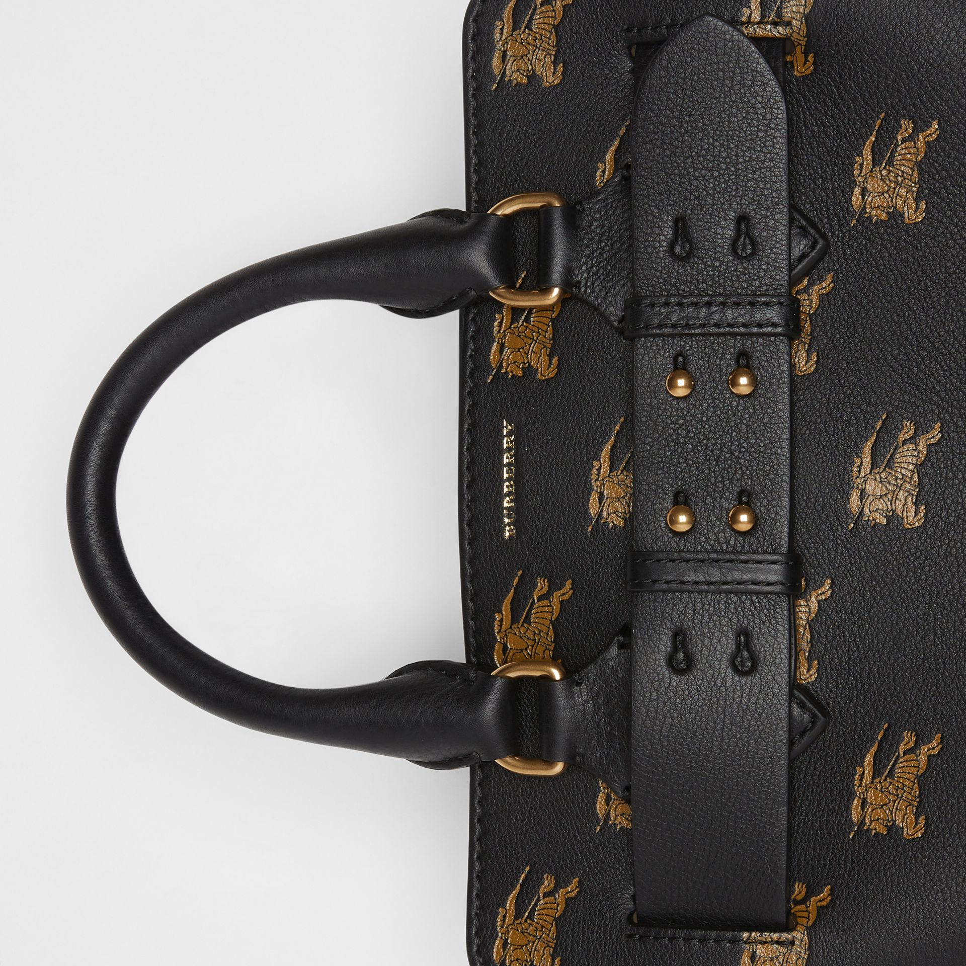 The Small Equestrian Knight Leather Belt Bag in Black - Women | Burberry United Kingdom - gallery image 1