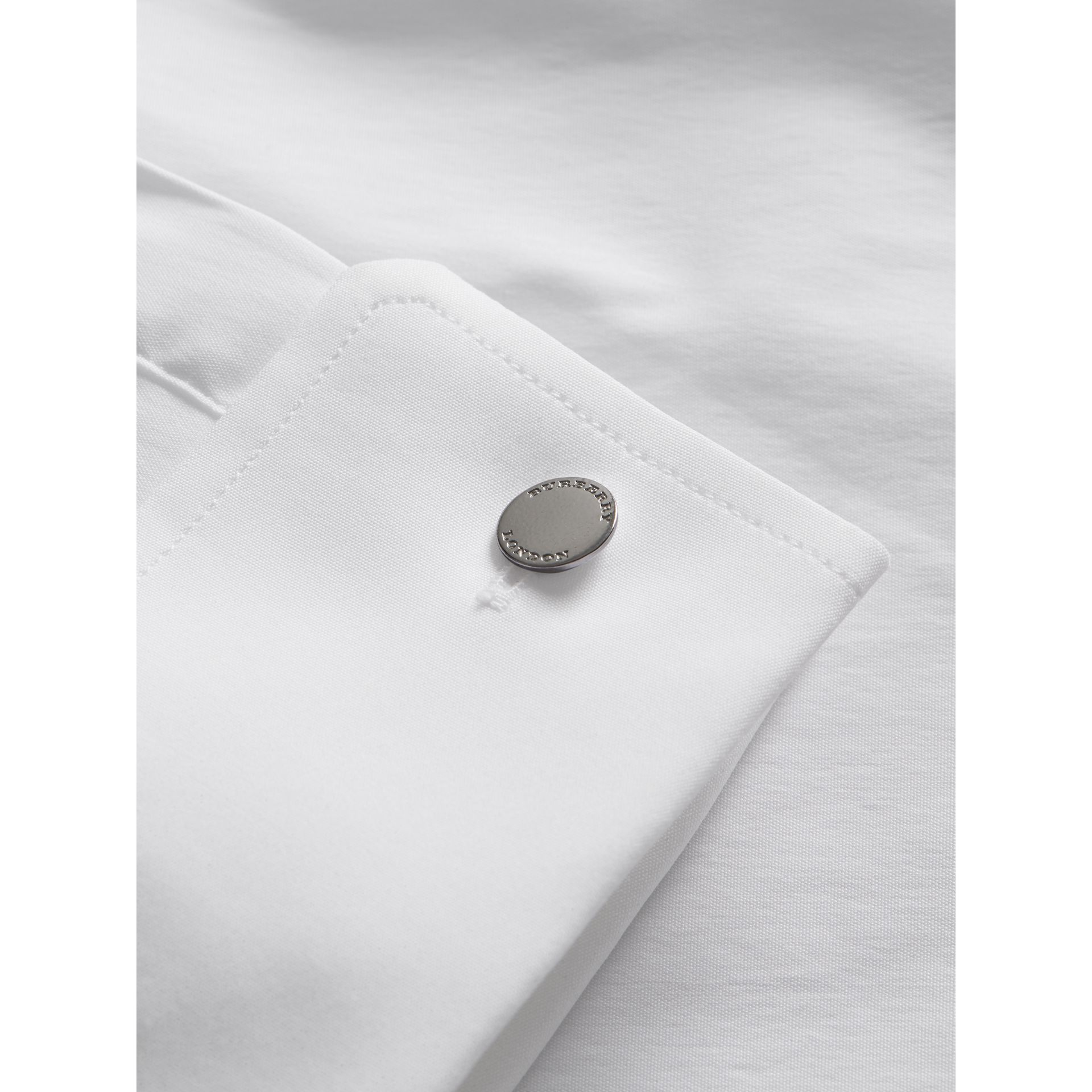 Modern Fit Double-cuff Stretch-cotton Shirt in White - Men | Burberry - gallery image 2