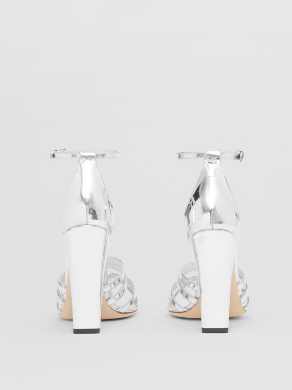 Split-toe Detail Metallic Leather Sandals in Argent - Women | Burberry - cell image 3