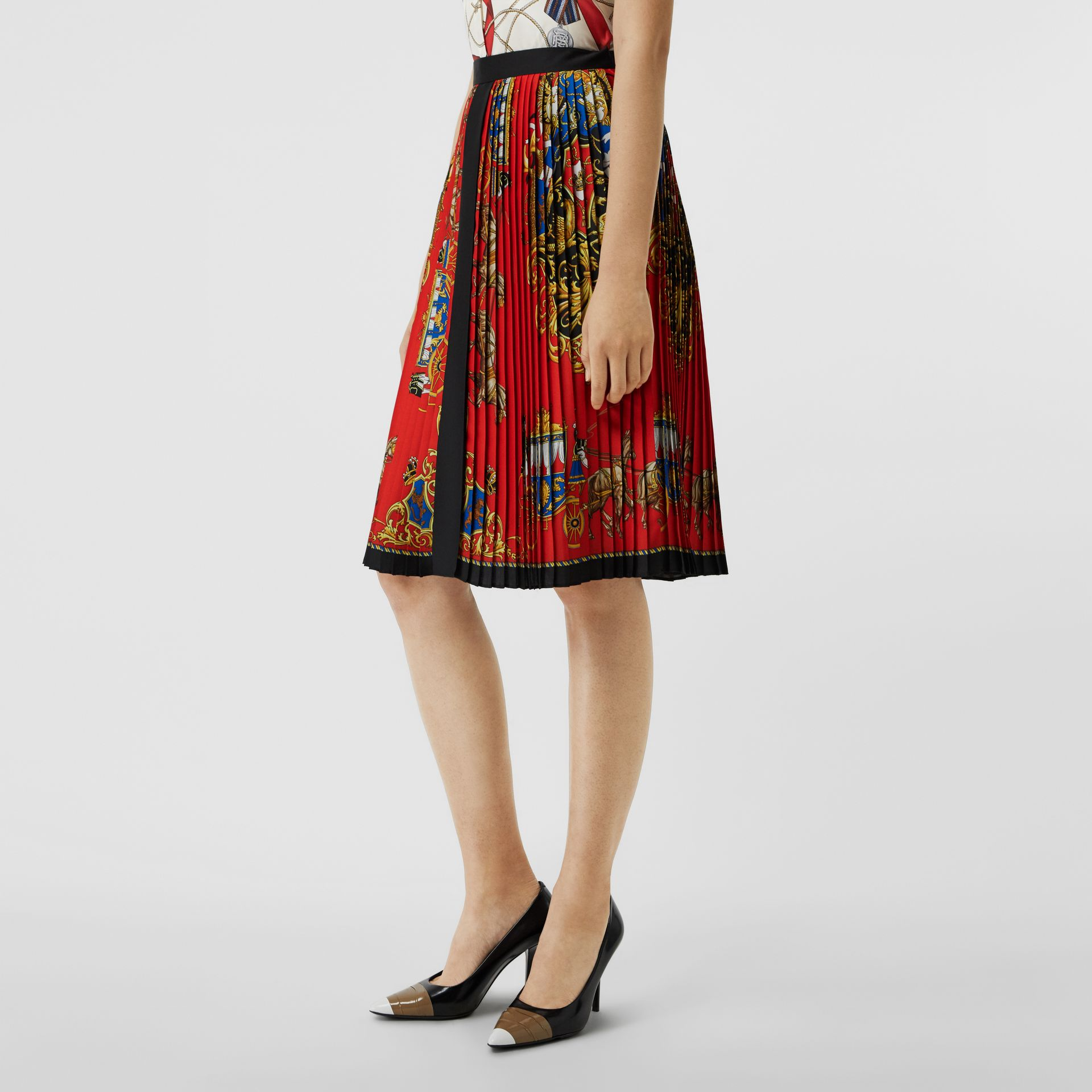 Archive Scarf Print Pleated Skirt in Bright Orange - Women | Burberry Australia - gallery image 4